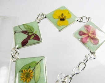 Flowers on the Square, Pressed Flower Bracelet, Real Flower Jewelry,  Adjustable,  Silver Plated Brass, (1872)