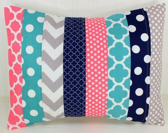 Nursery Pillow Cover, Throw Pillow Cover, Girl Nursery Decor, Nautical Nursery Decor, Coral Pink, Navy Blue, Gray, Grey, Teal, 12 x 16 Inch