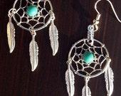 SALE BLUE SKY ll - Dreamcatcher earrings Silver with Turquoise, dreamcatcher earrings, turquoise dream catcher earrings
