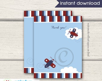 Airplane Flat Card Thank you Note / Zooming Along /  INSTANT DOWNLOAD bs-007