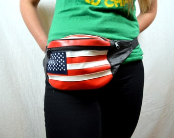 Vintage 80s Red White Blue USA Flag Fanny Pack