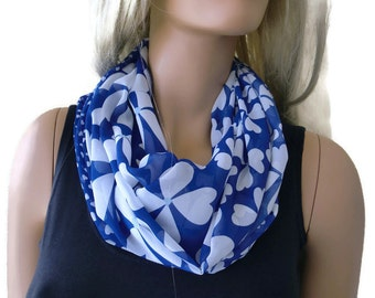 Lucky scarf-Four leaf clovers and hearts -Chiffon infinity scarf-Cobalt blue and white-Little breezy pop of color- Instant gratification