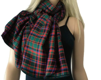 Green red black flannel plaid NeckRag with black trimming-unisex Long flannel plaid tartan scarf-Fall  Winter Fashion-More colors are coming