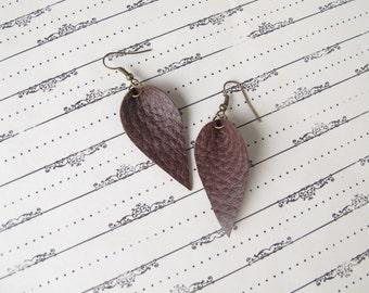 Textured Brown Leather Leaf Earrings