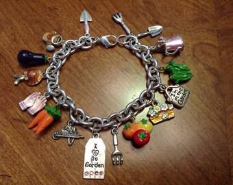 Upcycled Garden Gardening Vegetable Silver Charm Bracelet