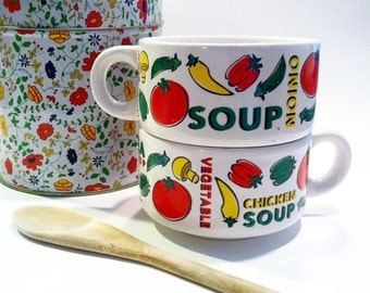 Vintage set of Soup Bowls Soup Mugs