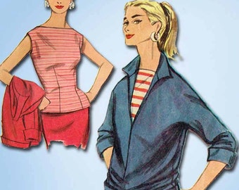 1950s Vintage Misses Pullover Jacket 1955 Simplicity Sewing Pattern Size 14