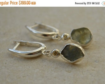 SPECIALS Montana Sapphire Slice and Yellow Sapphire Dangly Earrings in Sterling Silver