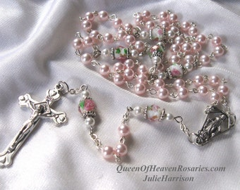 Pink Swarovski Pearls Rosary, Bride's Rosary, Communion Rosary, Wedding Rosary