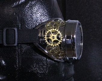 Steampunk Chrome Goggles with Shiny Brass Gears