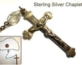 Vintage Sterling Silver Chaplet Rosary Glass and Silver. Miraculous Medal. Sacred Heart. Roman Catholic Circa 1950s.