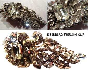1940s Eisenberg STERLING Silver Heavy Large Rhinestone Coat, Jacket or Fur Clip.