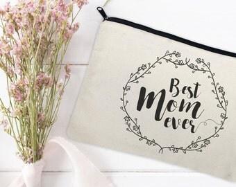 Canvas Makeup Bag - Make Up Pouch - Canvas pouch - Cosmetic pouch - Cosmetic Bag - Makeup Organizer - Best Mom Ever