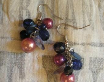 Beaded Cluster Dangle Earrings