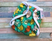 Teal Elephant Walk Polyester PUL Cloth Diaper Cover With Aplix Hook & Loop Or Snaps You Pick Size XS/Newborn, Small, Medium, Large, or OS