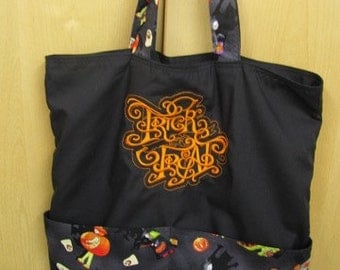 Trick or Treat Halloween Tote or Eco Friendly Purse Grocery or Shopping Bag