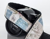 dSLR Camera Strap, Vintage French Postage, Paris, Postage Stamps, Script, Camera Neck Strap, Canon Nikon, Pocket, SLR, 202 a