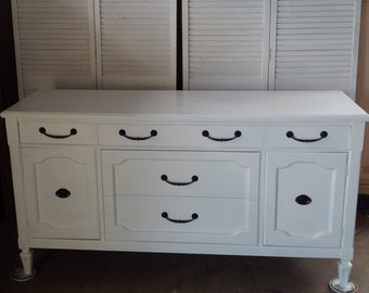 DRESSER Vintage Serpentine Chest of Drawers Custom PAINT to ORDER Poppy Cottage Painted Furniture