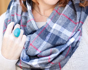 Infinity Scarf, Scarf, Scarfs, Scarves, Womens Scarves, Shawl, Cowl, Scarves For Women, Baby Scarf, Flannel - Grey, Black, Red Plaid Flannel
