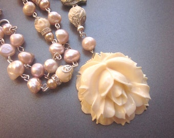 Pearl Necklace with Rose Fresh Water Pearls Bridal Jewelry