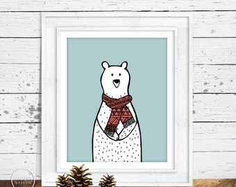 Polar Bear in an Aztec Scarf Holiday Wall Art - 8x10 Printable