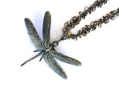 Large Pewter Dragonfly Pendant on Long Black Chain N242 Ann Melton Dragonfly Necklace One of a Kind OOAK