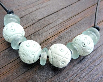 Sage Green Tie Necklace - Sage Green Clay Beads, Sea Green Recycled Glass Discs, Black Leather Necklace