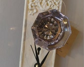 One of a kind clock- half past clocks- door knob clocks-sun purple door knob