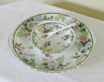 Vintage Floral Chip N Dip Party Server, Andrea by Sadek Boxed Set Porcelain Platter Bowl and Spoon Serving Set Flowers and Berries