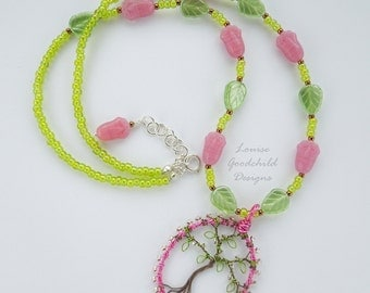 Cherry Blossom necklace, wire tree necklace, cherry tree necklace, pink and green necklace, tree pendant, spring necklace, nature inspired