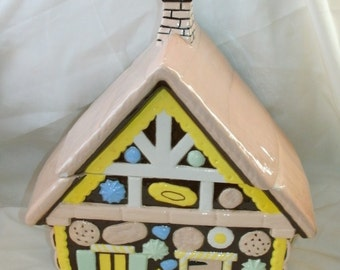 Gingerbread house candy cookie jar