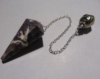 Lepidolite pendulum handmade on a Sterling chain Silver Bead