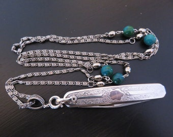 Folding Colibri knife  Unused vintage pocket knife necklace  long vintage chain with Chrysocolla beads