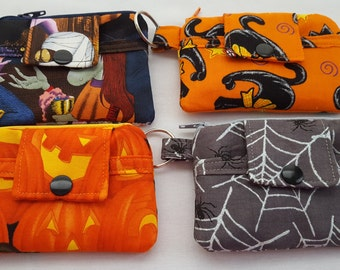 Zipper Mini Wallet Pouch Key Chain Halloween Frankenstein - Black Cats - Pumpkins - Spider Web Card holder -