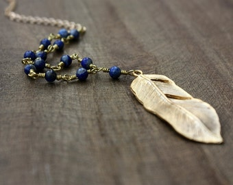 Feather and Lapis Lazuli Wire Wrapped Rosary Necklace, Gemstone jewelry, Rustic Jewelry, Tribal, Boho