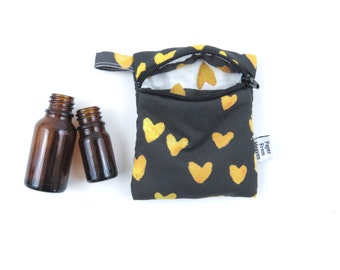 Essential Oil Case - Gold Hearts - FEBRUARY INDEPENDENT ARTIST - heart cosmetic bag zipper pouch essential oil bag roller bottle