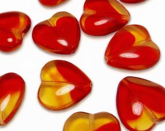 10 pcs Red Glass Heart Beads Orange 16 mm Czech Pressed Glass B-152