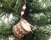 Christmas Tree Ornament Decoration white miniature drum with burgandy and green diamonds outlined in gold and custom hanger