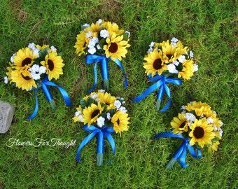Sunflower Bridesmaid Bouquet, Rustic Wedding Decoration, 1 Bridal Bouquet