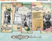 30% OFF SALE - Romeo and Juliet Bookmarks -  Digital Collage Tags - Download Sheet