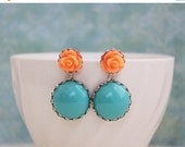 Turquoise and Orange Earrings in Antique Brass or Silver. Roses.
