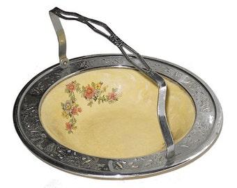 Vintage Serving Dish in Metal Holder, Serving Dish, Serving Dish With Holder, Vintage Dining, Vintage Dish by NewYorkMarketplace on Etsy