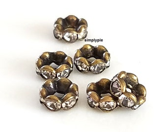 Rondelle Rhinestone Crystal Antiqued Brass Beads 6mm 6 Spacer