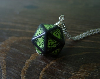 call of Cthulhu necklace D20 dice necklace dungeons and dragons dice jewelry elder sign geek pendant lovecraft pathfinder dice cthulhu