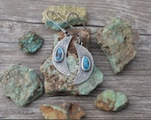 Arizona Turquoise Crescent Moon Earrings Handmade in Sterling Silver
