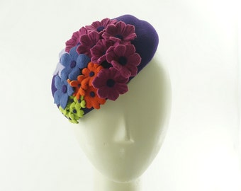 PILLBOX HAT for Women - cocktail hat - Rainbow - Felt Hat - Millinery - Wedding Hat - Small Hat - Dinner Hat - Flower Bouquet - Handmade Hat