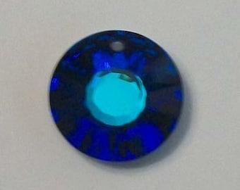Swarovski Crystal Pendant Sun Pendant style 6724 Crystal Pendant Beads BERMUDA BLUE -- Choose 12mm or 19mm