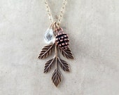 Pinecone Necklace, Leaf Pendant, Pine Cone Necklace, Pinecone Pendant, Woodland Necklace, Bridesmaid Necklace
