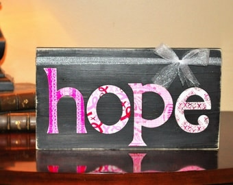 Wood Wall Sign, HOPE Sign, Black Chalk Paint Wood Sign, Wall Hanging, 10x5.5 inch Wood Sign,Wall Hanging, Home Decor, Pink Ribbon Decor