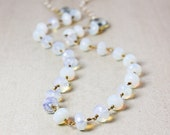 40 OFF SALE Gold White Opalite Necklace with Freshwater Pearls - Teal Quartz, Long Necklace